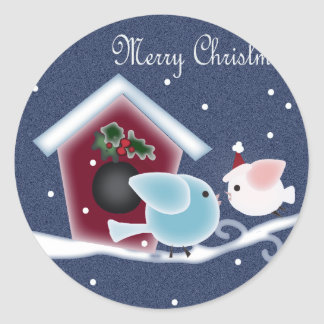 Cartoon mistletoe Love Birds Our First Christmas Classic Round Sticker