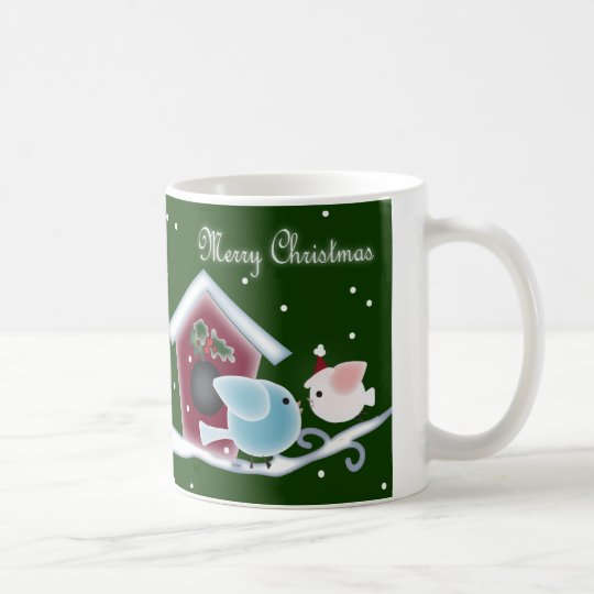 Cartoon mistletoe Love Birds Our First Christmas Coffee Mug