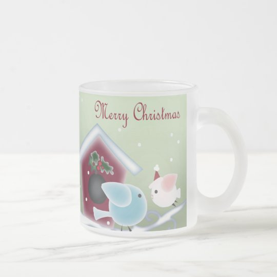 Cartoon mistletoe Love Birds Our First Christmas Frosted Glass Coffee Mug