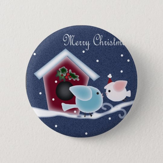 Cartoon mistletoe Love Birds Our First Christmas Pinback Button
