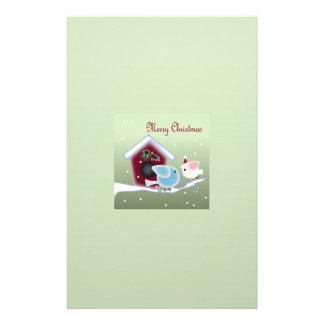 Cartoon mistletoe Love Birds Our First Christmas Stationery