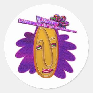 Cartoon Modern Woman Print Classic Round Sticker