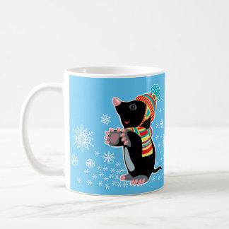 cartoon mole coffee mug