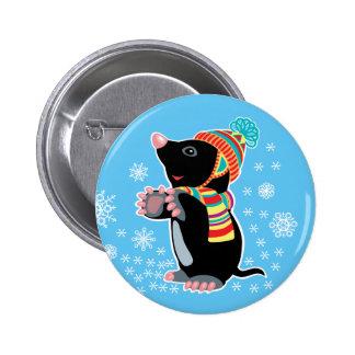 cartoon mole pinback button