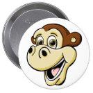 Cartoon Monkey 4 Inch Round Button