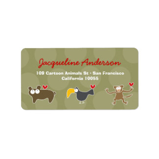Cartoon Monkey Ape Toucan Bear  Address Labels