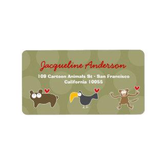 Cartoon Monkey Ape Toucan Bear  Address Labels Custom Address Labels