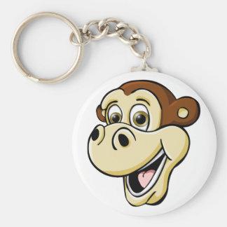 Cartoon Monkey Basic Round Button Keychain