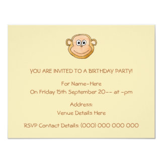 Cartoon Monkey, Birthday. Card