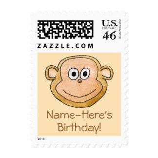 Cartoon Monkey, Birthday. Stamp
