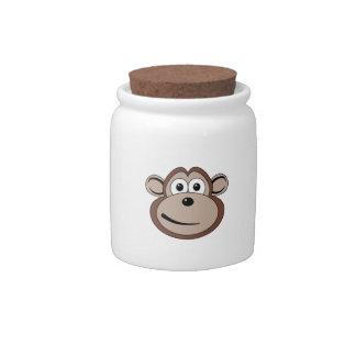 Cartoon Monkey Face Candy Jar