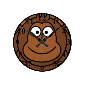 Cartoon Monkey Face Round Clocks