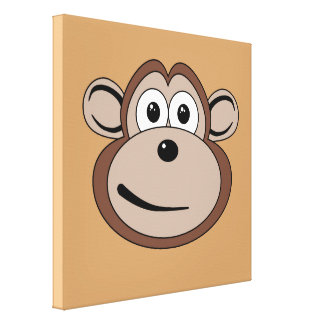 Cartoon Monkey Face Stretched Canvas Print