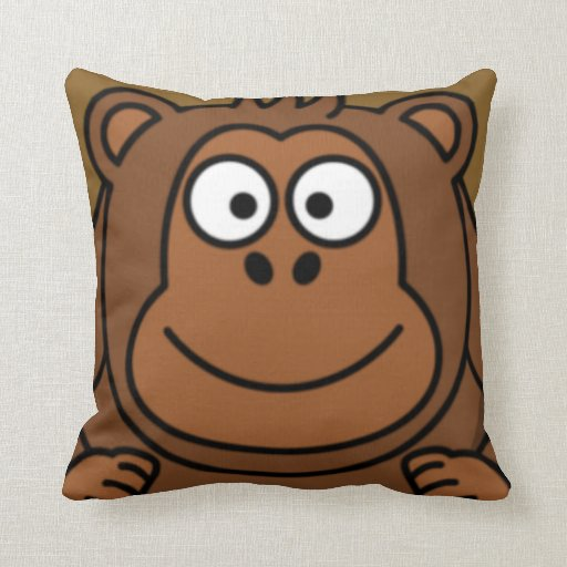 Cartoon Monkey Face Throw Pillow Zazzle