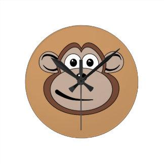 Cartoon Monkey Face Wall Clock
