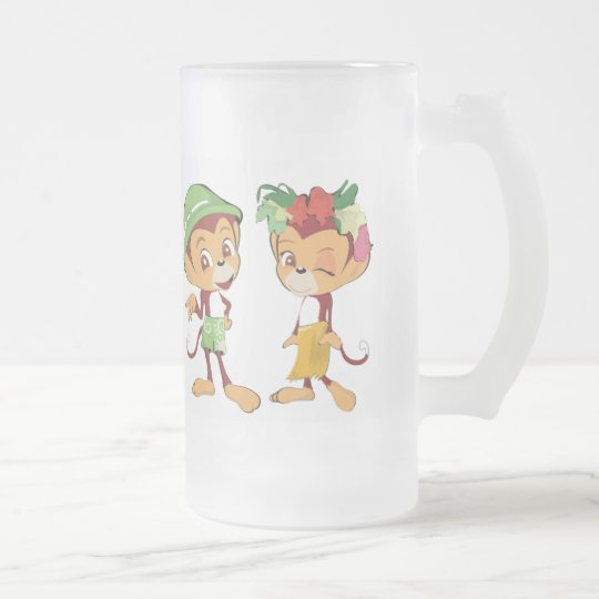 Cartoon Monkey Frosted Glass Beer Mug