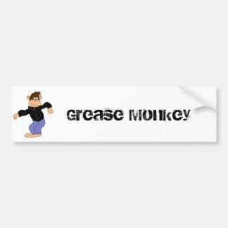 Cartoon Monkey In Leather Jacket Bumper Sticker