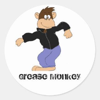 Cartoon Monkey In Leather Jacket Classic Round Sticker