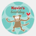Cartoon Monkey Kid Custom Gift Favor Label Sticker Round Sticker