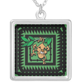 Cartoon Monkey Silver Plated Necklace