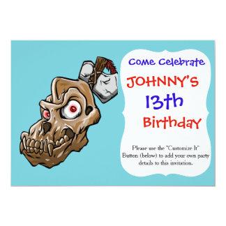 Cartoon monkey skull card