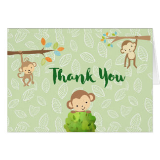 Cartoon Monkeys -  Playful and Cute Thank You Card