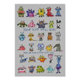 Cartoon MonSTARS Blue Gray Personalized Poster