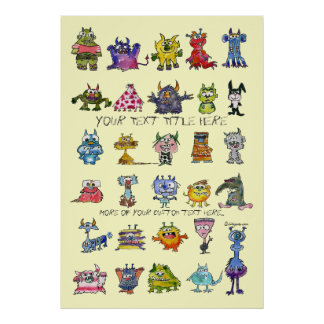 Cartoon MonSTARS Yellow Personalized Poster