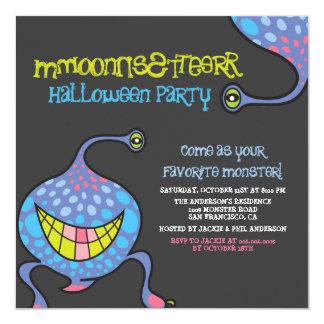 Cartoon Monster Alien Halloween Party Invitation Announcement