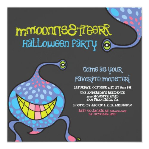 Cartoon Monster Alien Halloween Party Invitation