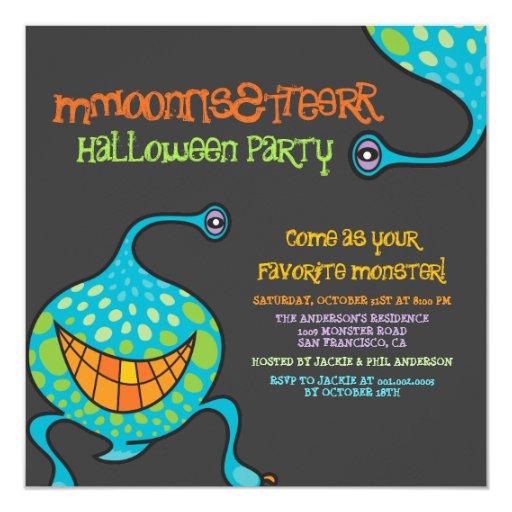 "Cartoon Monster Alien Halloween Party Invitation 5.25"" Square Invitation Card"