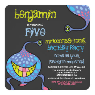 Cartoon Monster Alien Kids Birthday Party Invite