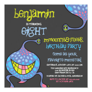 Cartoon Monster Alien Kids Photo Birthday Party In Personalized Announcement