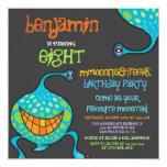 Cartoon Monster Alien Kids Photo Birthday Party 5.25x5.25 Square Paper Invitation Card
