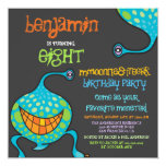 Cartoon Monster Alien Kids Photo Birthday Party 5.25x5.25 Square Paper Invitation Card