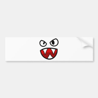 Cartoon Monster Eyes and Mouth with Sharp Teeth Bumper Sticker