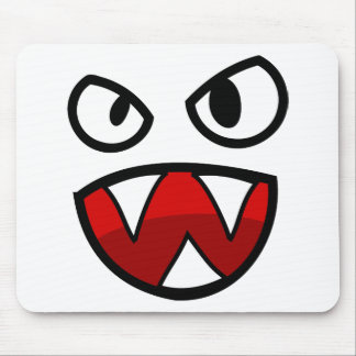 Cartoon Monster Eyes and Mouth with Sharp Teeth Mouse Pad