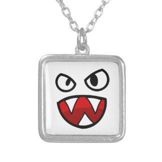 Cartoon Monster Eyes and Mouth with Sharp Teeth Square Pendant Necklace