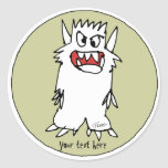 Cartoon Monster Personalized Round Stickers
