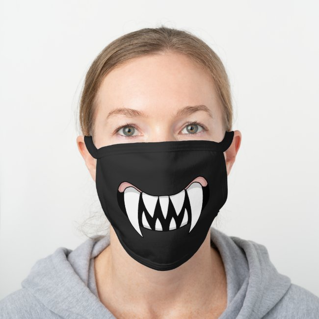 Cartoon Monster Teeth Mouth | Black Black Cotton Face Mask