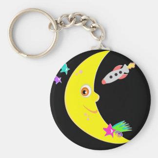 Cartoon Moon Rocket Keychain