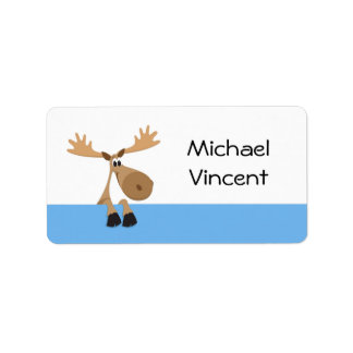 Cartoon moose - blue and white name label/tag