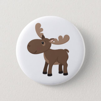 Cartoon Moose Pinback Button