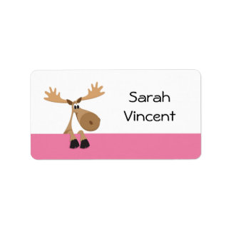 Cartoon moose - pink and white name label/tag