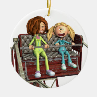 Cartoon Mother and Daughter on a Ferris Wheel Ceramic Ornament