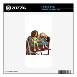 Cartoon Mother and Daughter on a Ferris Wheel Decals For The iPhone 4S