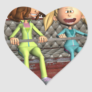 Cartoon Mother and Daughter on a Ferris Wheel Heart Sticker