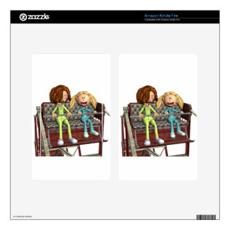 Cartoon Mother and Daughter on a Ferris Wheel Kindle Fire Skin