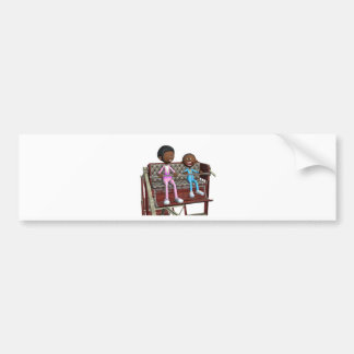 Cartoon Mother and Son on a Ferris Wheel Bumper Sticker