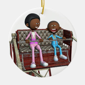 Cartoon Mother and Son on a Ferris Wheel Ceramic Ornament